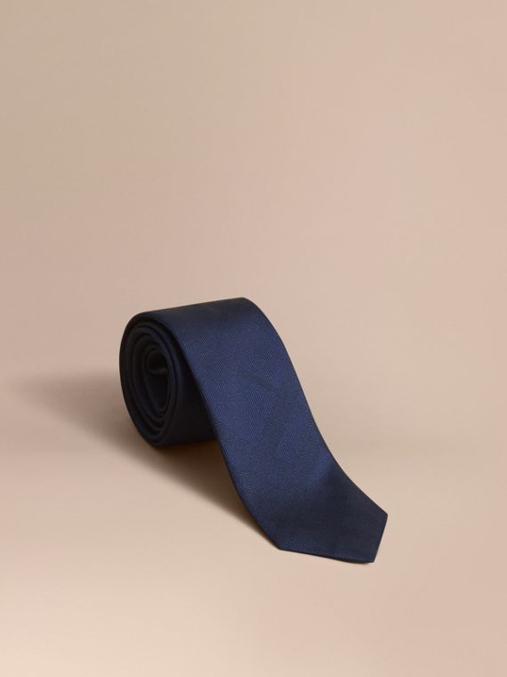 Slim Cut Check Silk Tie Navy