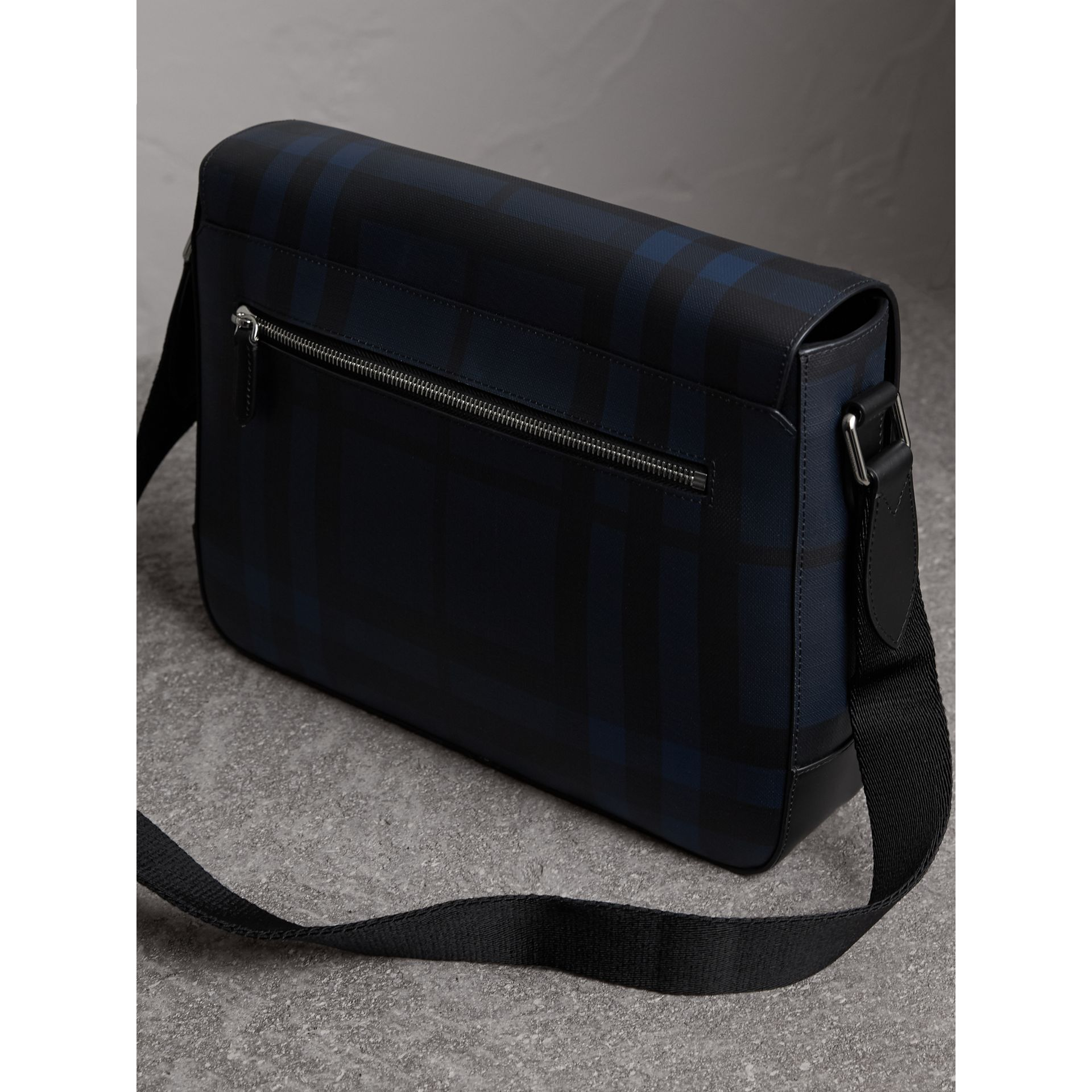 399a869a0813 Shop Burberry Medium Leather Trim London Check Messenger Bag In Navy ...