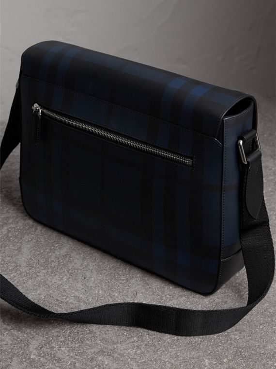 Medium Leather Trim London Check Messenger Bag in Navy/black - Men | Burberry Singapore - cell image 3