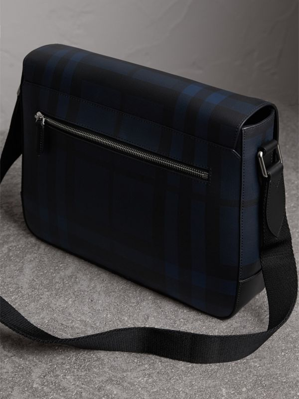 Medium Leather Trim London Check Messenger Bag in Navy/black - Men | Burberry - cell image 3
