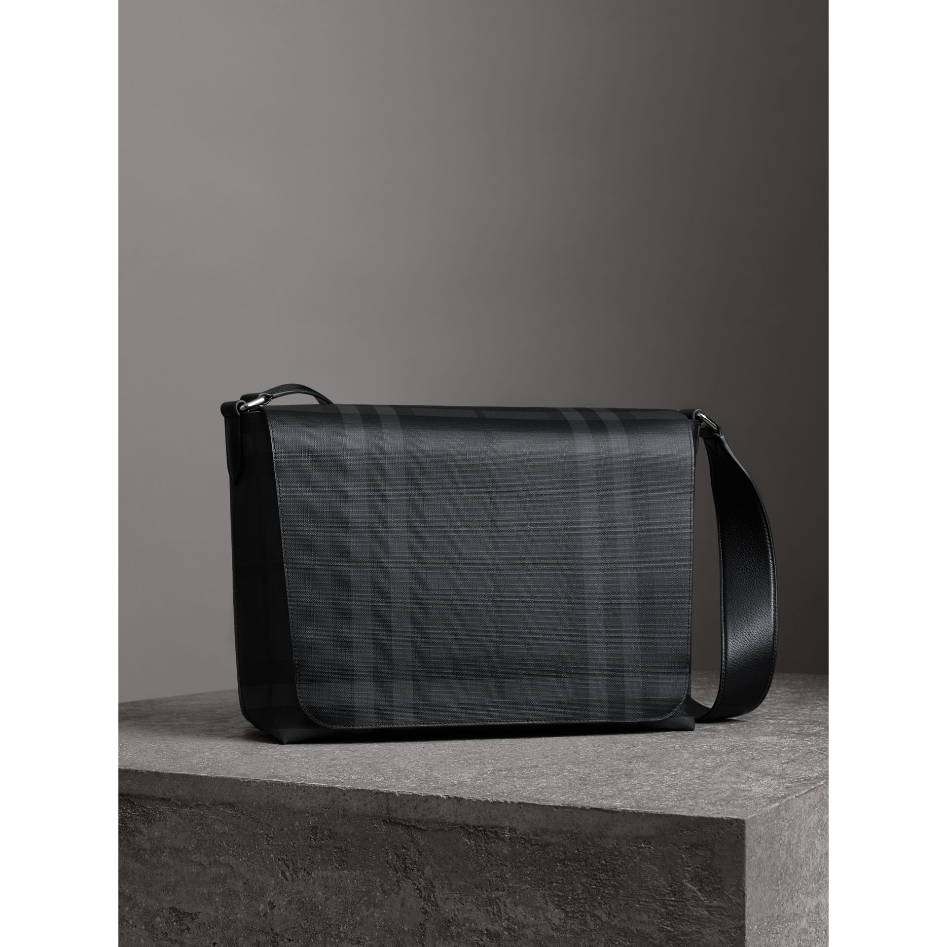 Large London Check Messenger Bag in Charcoal/black - Men | Burberry - gallery image 6