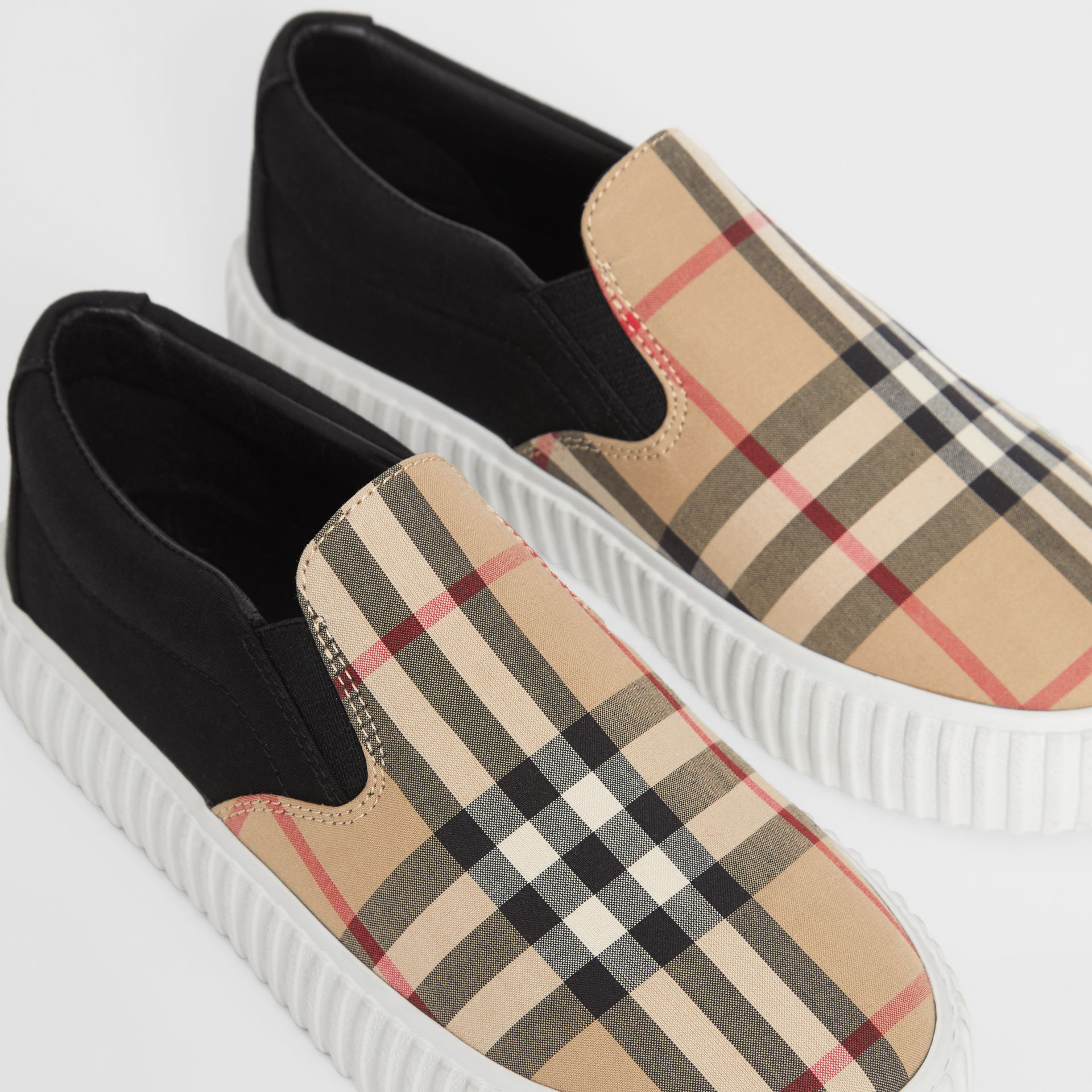 Vintage Check Detail Cotton Slip-on Sneakers in Archive Beige/black - Children | Burberry - gallery image 1