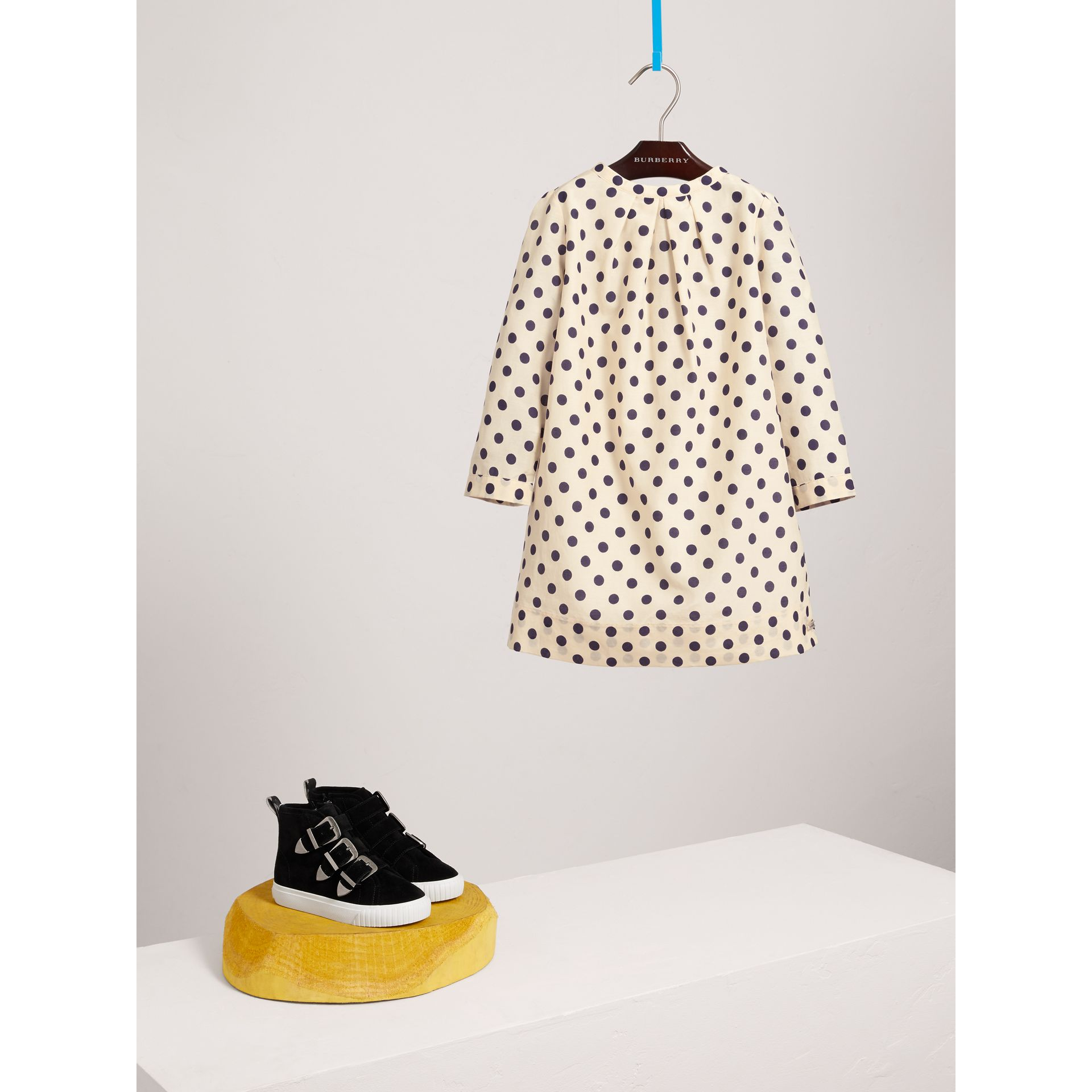 Spot Print Cotton Silk A-line Dress in Natural White | Burberry Canada - gallery image 2