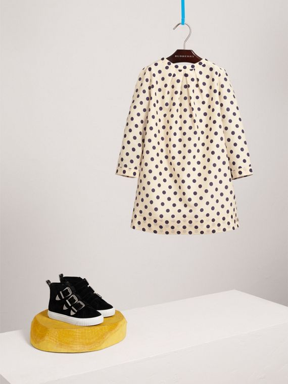 Spot Print Cotton Silk A-line Dress in Natural White | Burberry Canada - cell image 2