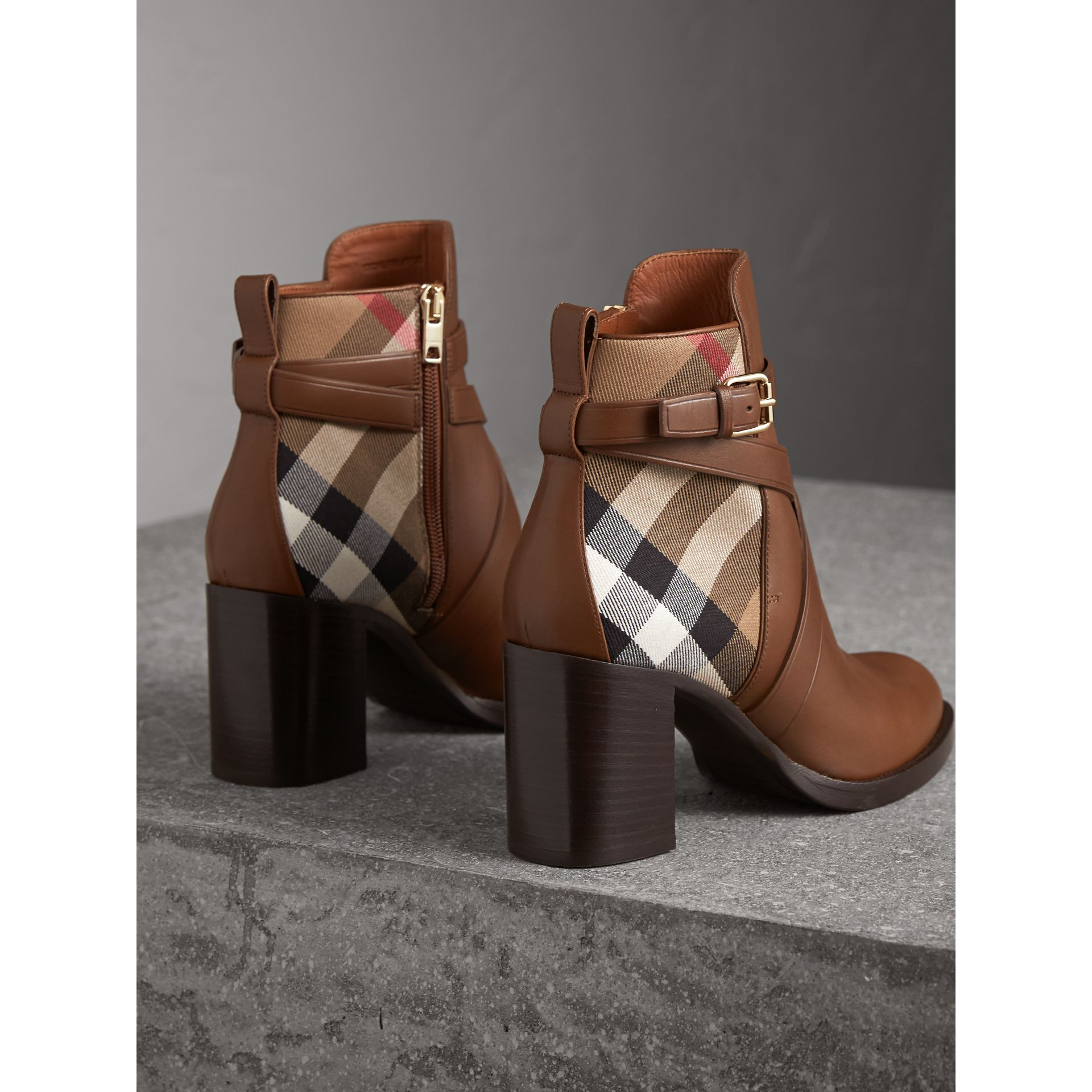 House Check and Leather Ankle Boots in Bright Camel - Women | Burberry - gallery image 3