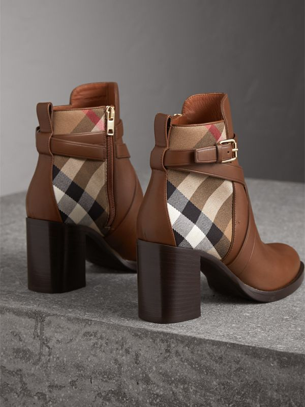 House Check and Leather Ankle Boots in Bright Camel - Women | Burberry United States - cell image 3