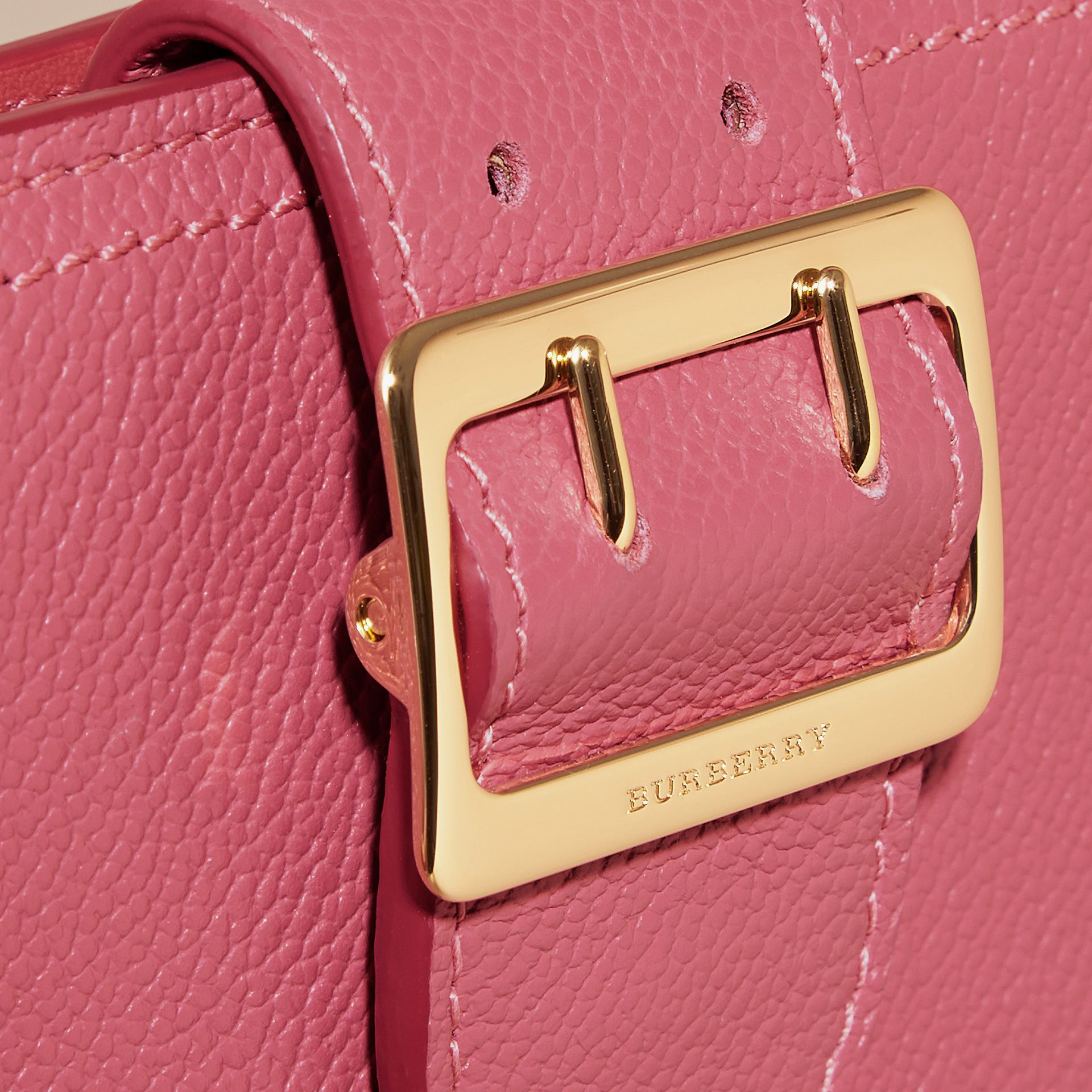 Buckle Detail Grainy Leather Wallet in Pink Azalea - gallery image 2