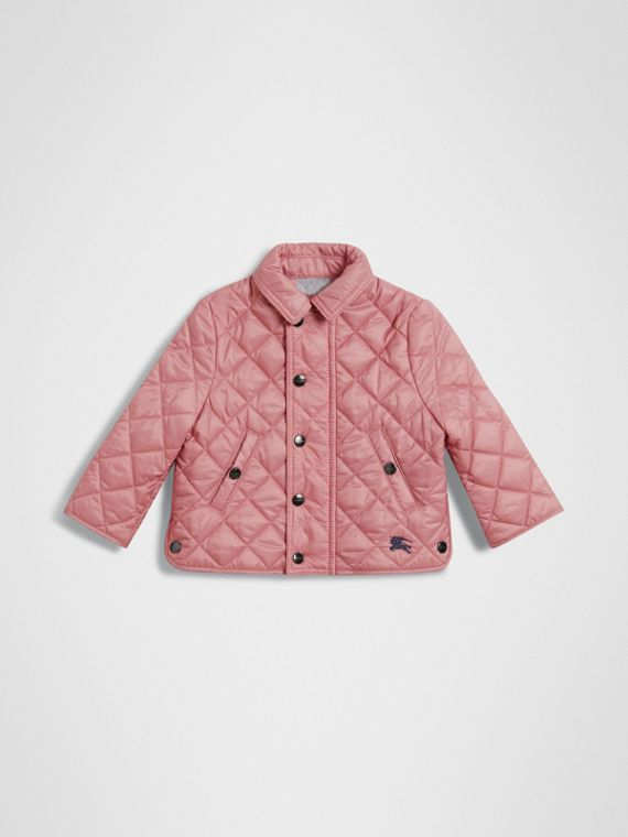 Lightweight Diamond Quilted Jacket in Pale Ash Rose