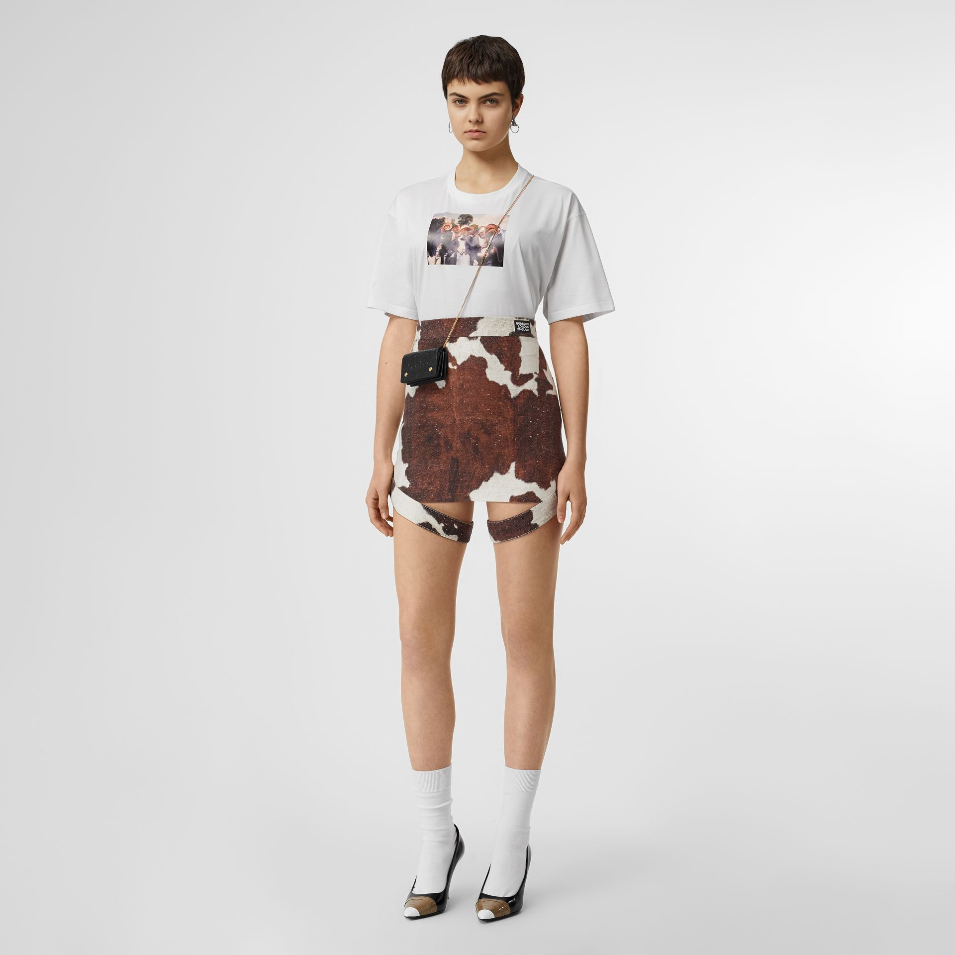 Montage Print Cotton Oversized T-shirt in White - Women | Burberry United States - gallery image 0