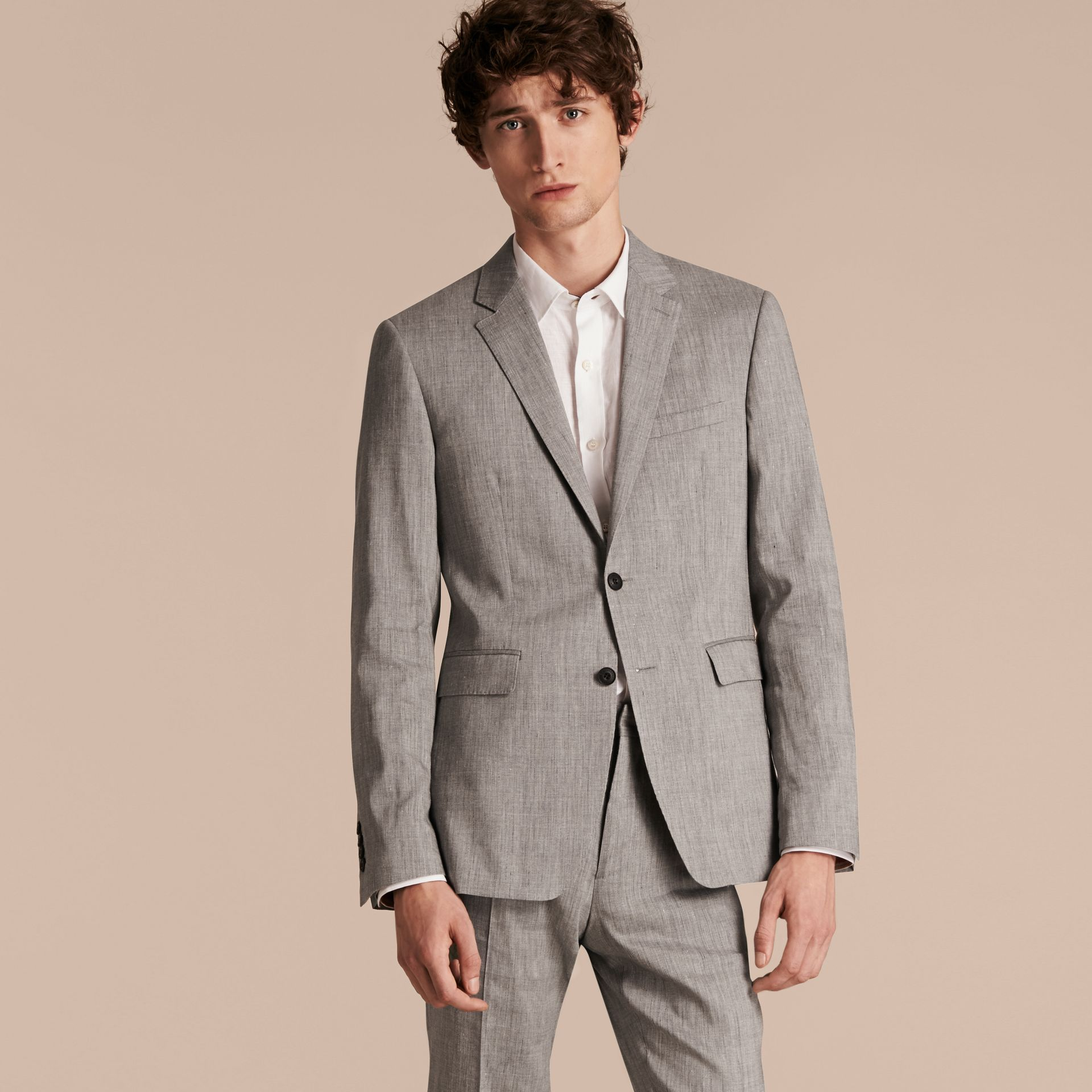Slim Fit Travel Tailoring Linen Wool Blend Suit - Men | Burberry Singapore - gallery image 7