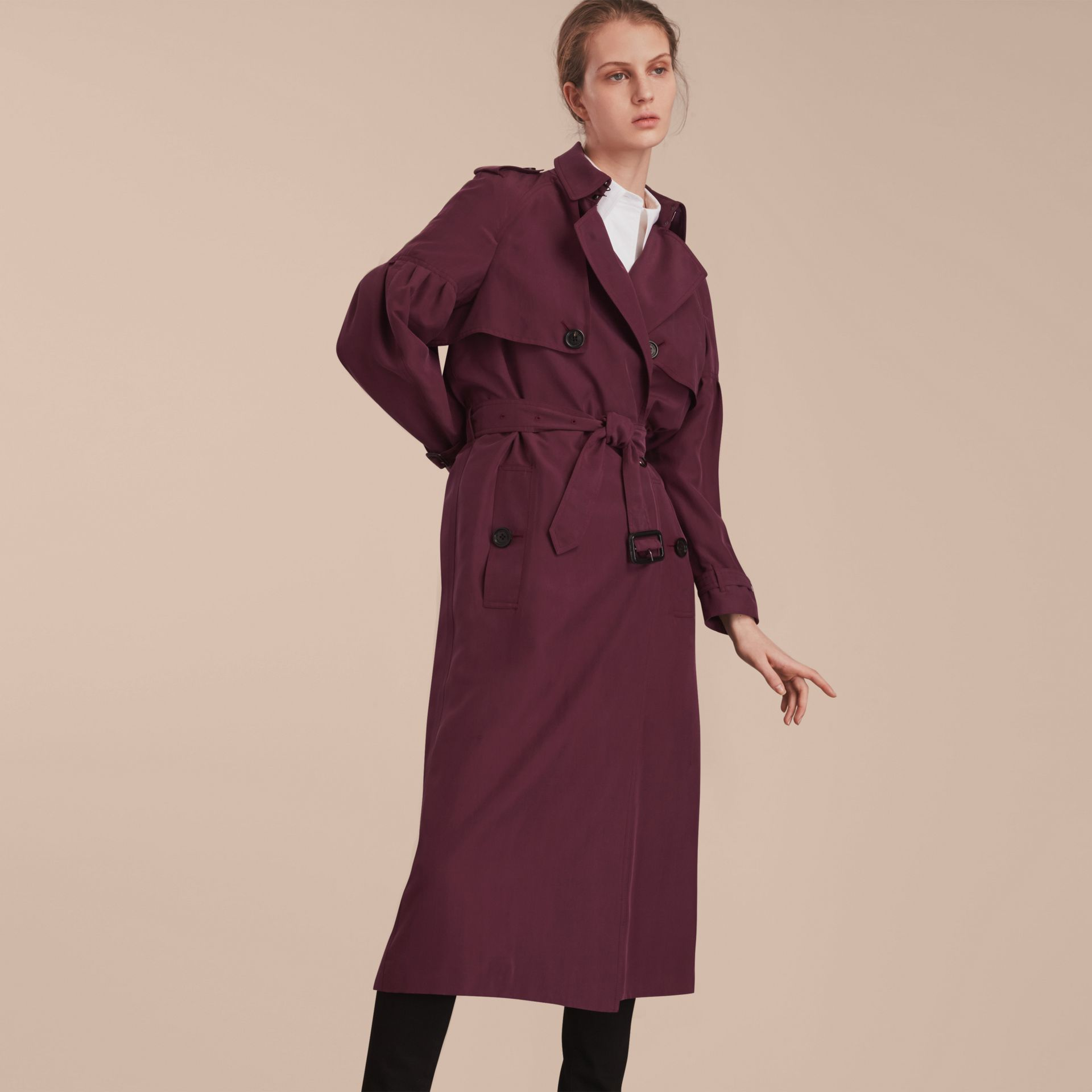 Burgundy Oversize Silk Trench Coat with Puff Sleeves Burgundy - gallery image 7
