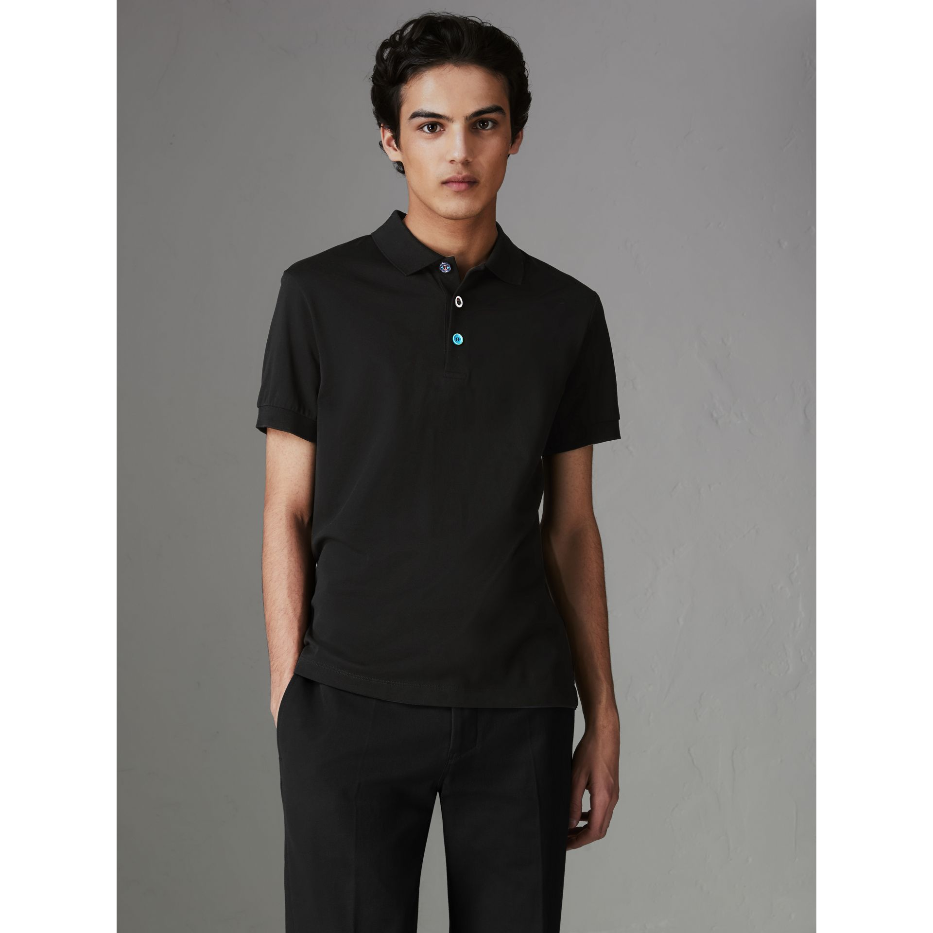 Painted Button Cotton Piqué Polo Shirt in Black - Men | Burberry - gallery image 4