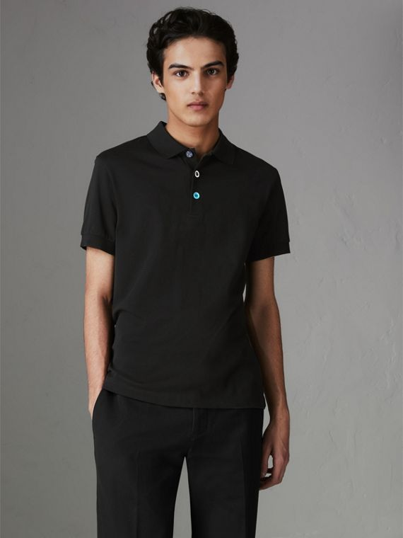 Painted Button Cotton Piqué Polo Shirt in Black