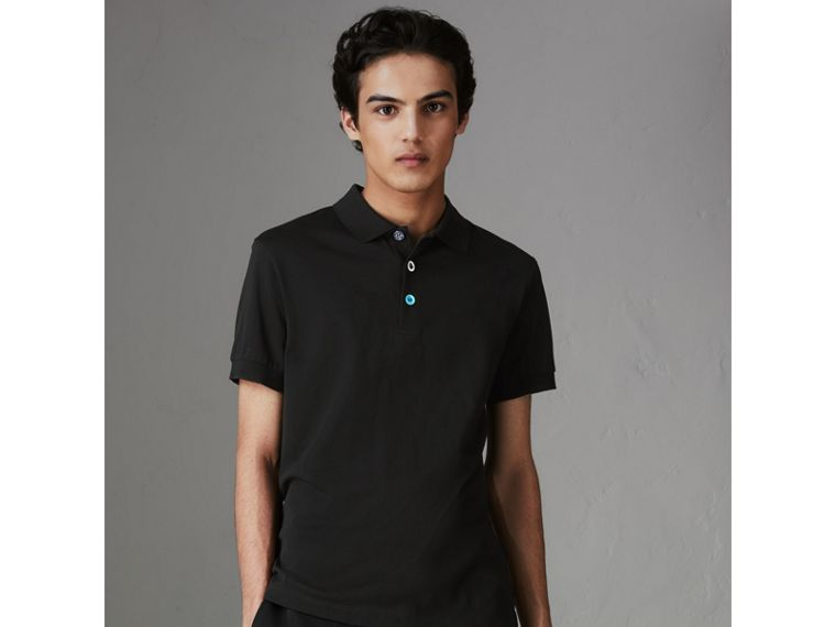 Painted Button Cotton Piqué Polo Shirt in Black - Men | Burberry - cell image 4
