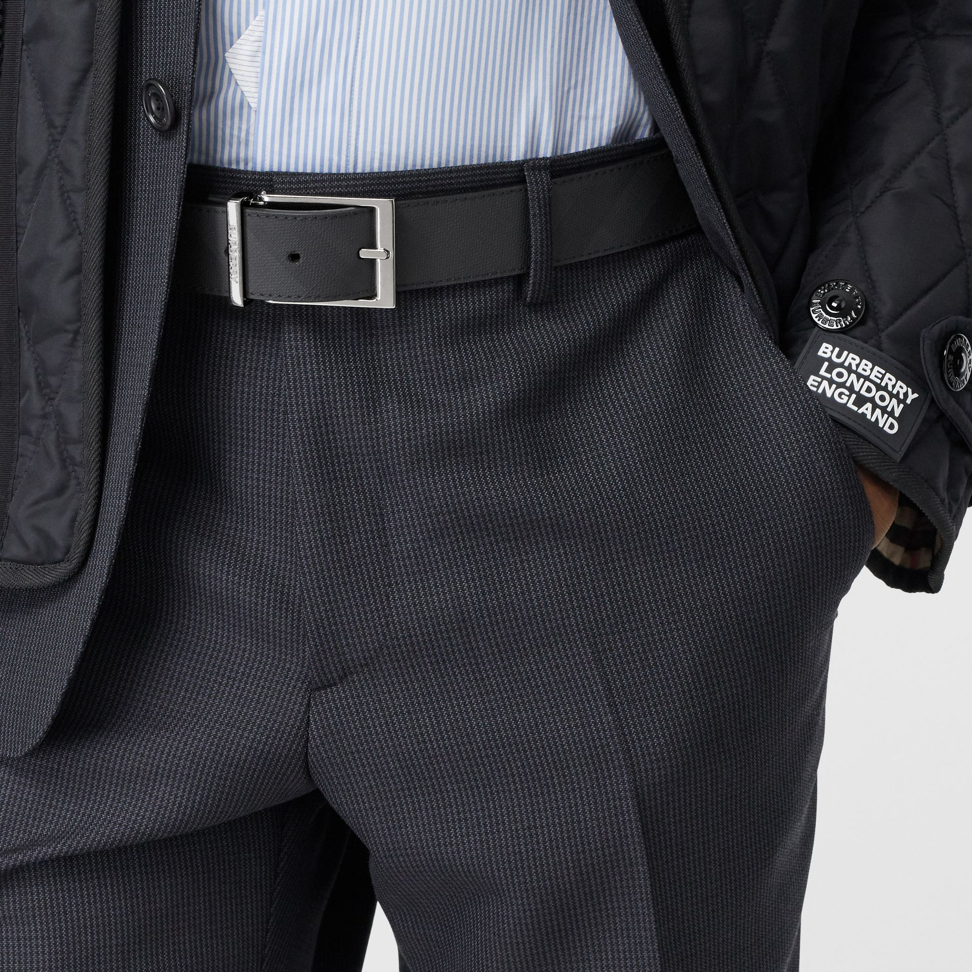 Reversible London Check and Leather Belt in Dark Charcoal/black - Men | Burberry - gallery image 2
