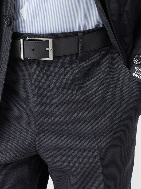 Reversible London Check and Leather Belt in Dark Charcoal/black - Men | Burberry - cell image 2
