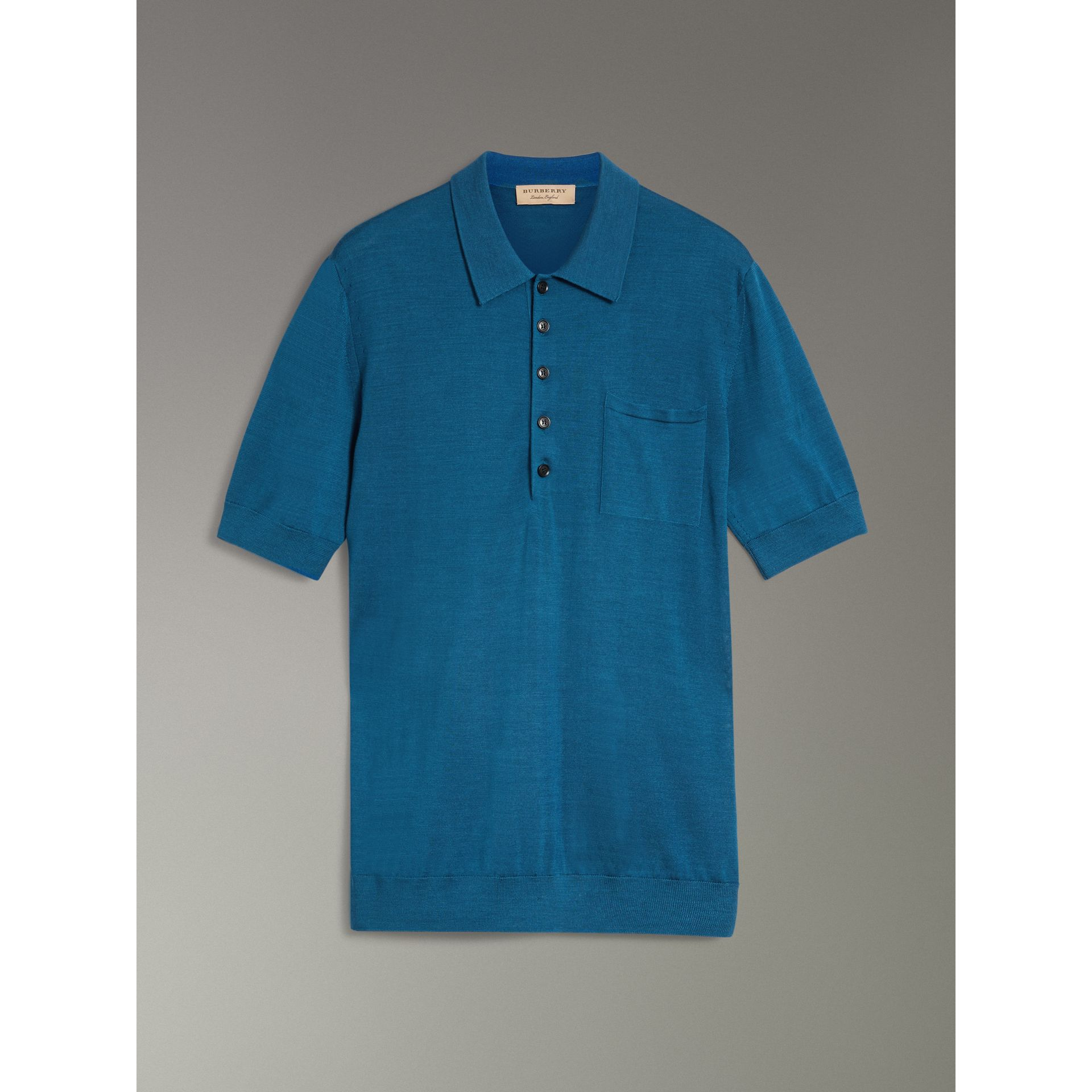 Knitted Silk Polo Shirt in Dark Teal Blue - Men | Burberry - gallery image 3