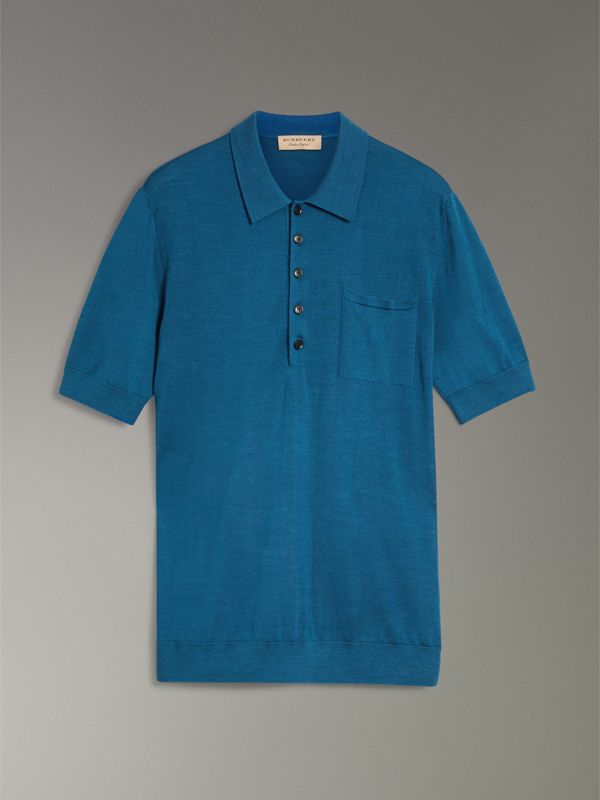 Knitted Silk Polo Shirt in Dark Teal Blue - Men | Burberry - cell image 3