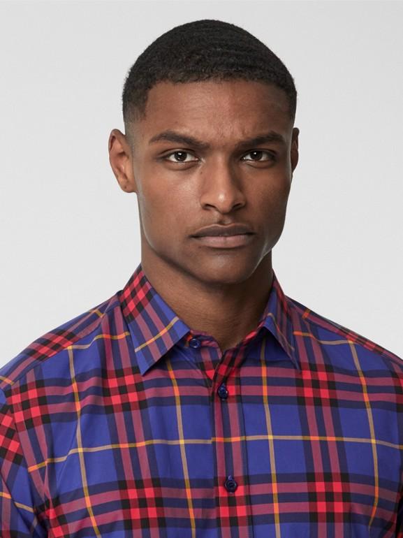 Check Cotton Poplin Shirt in Regency Purple - Men | Burberry - cell image 1