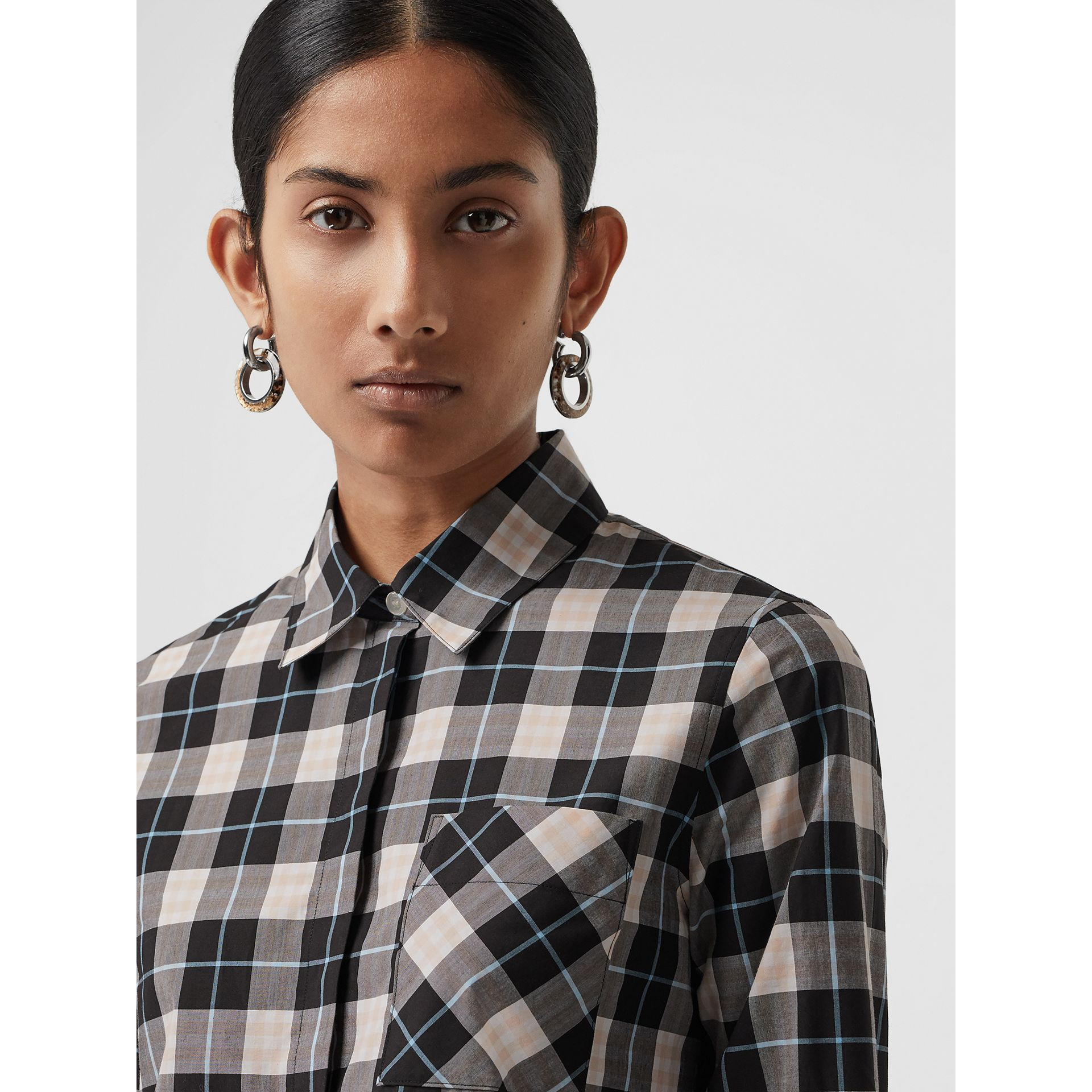 Check Cotton Shirt in Pink Apricot - Women | Burberry - gallery image 3