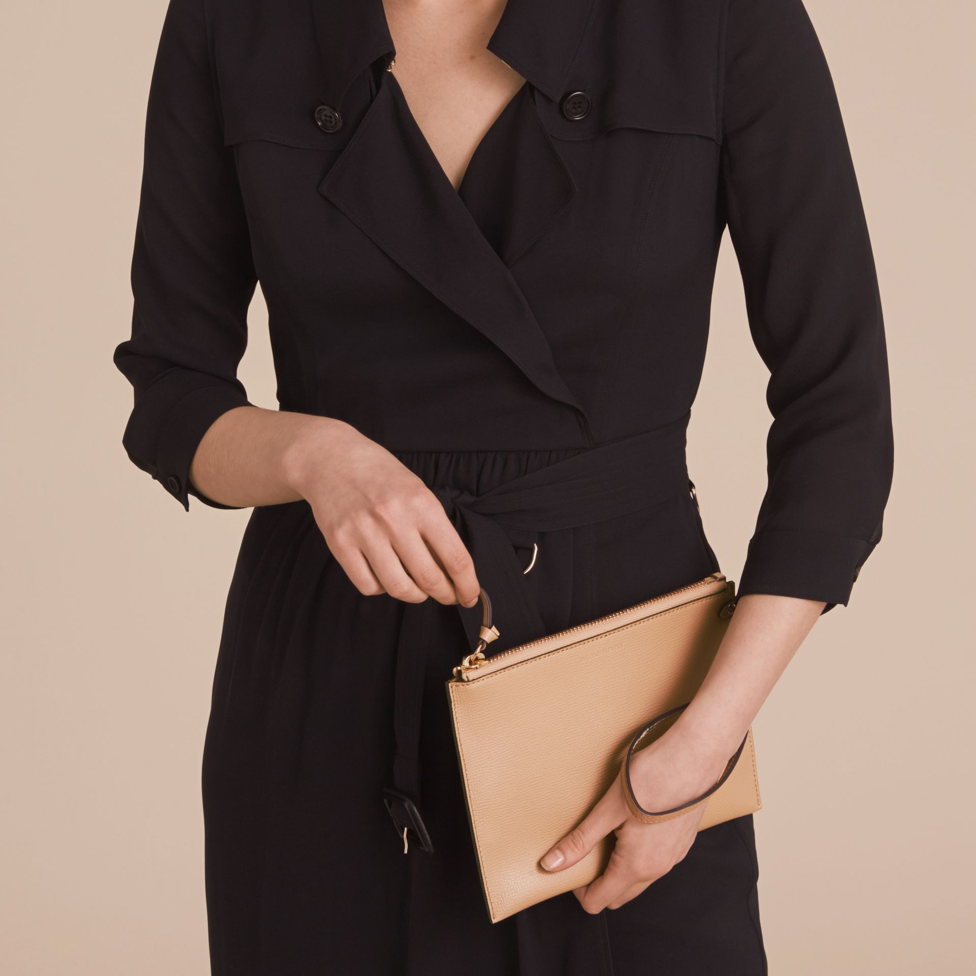 Haymarket Check and Leather Pouch in Mid Camel - Women | Burberry Australia - gallery image 3