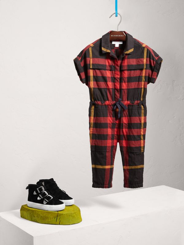 Short-sleeve Check Cotton Flannel Jumpsuit in Black | Burberry United Kingdom - cell image 2