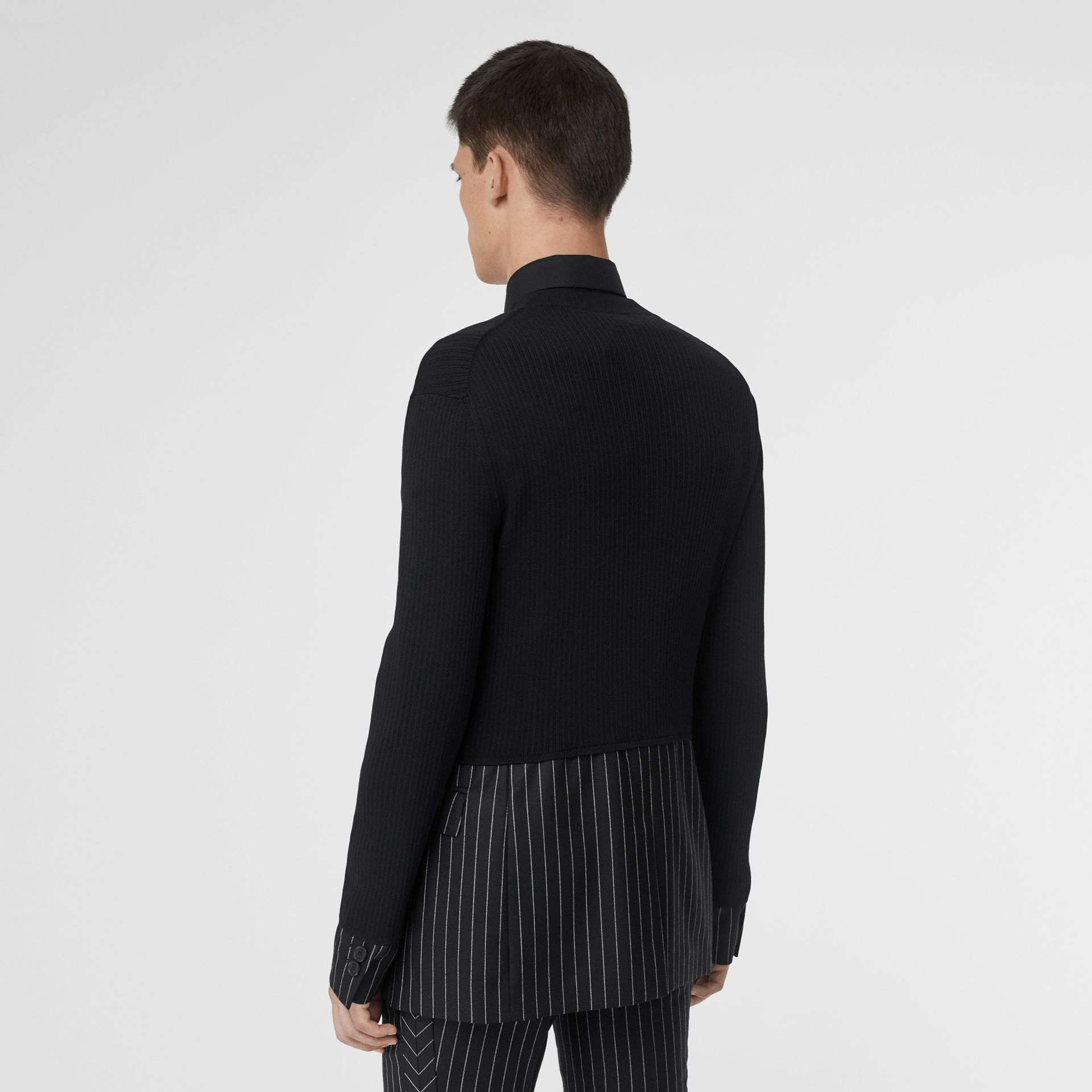 Tailored Panel Rib Knit Silk Blend Sweater in Black | Burberry Australia - gallery image 2