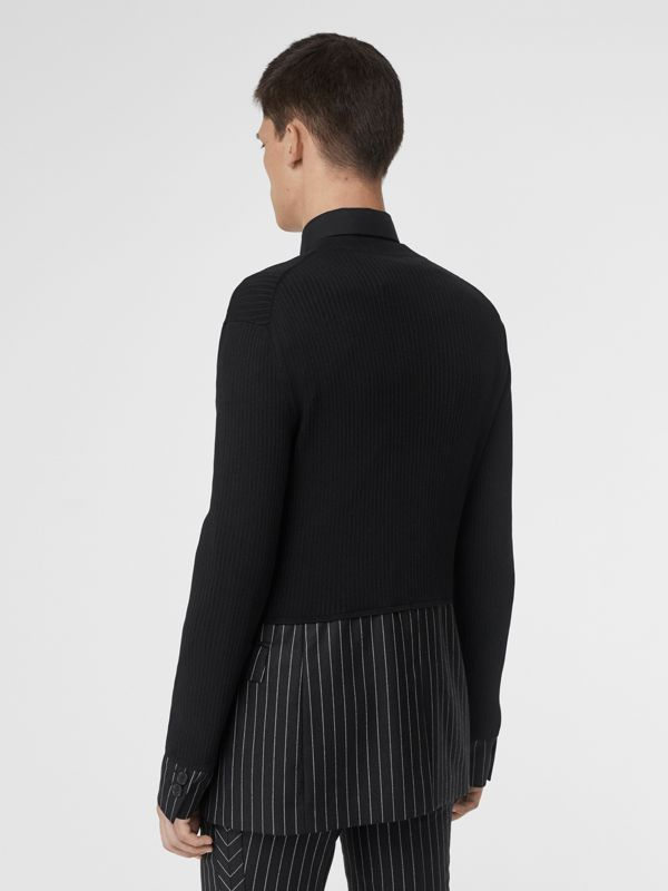 Tailored Panel Rib Knit Silk Blend Sweater in Black | Burberry Australia - cell image 2