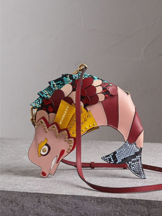 The Fish - Borsa a tracolla in pelle e pelle di serpente (Rosa Floreale) - Donna | Burberry