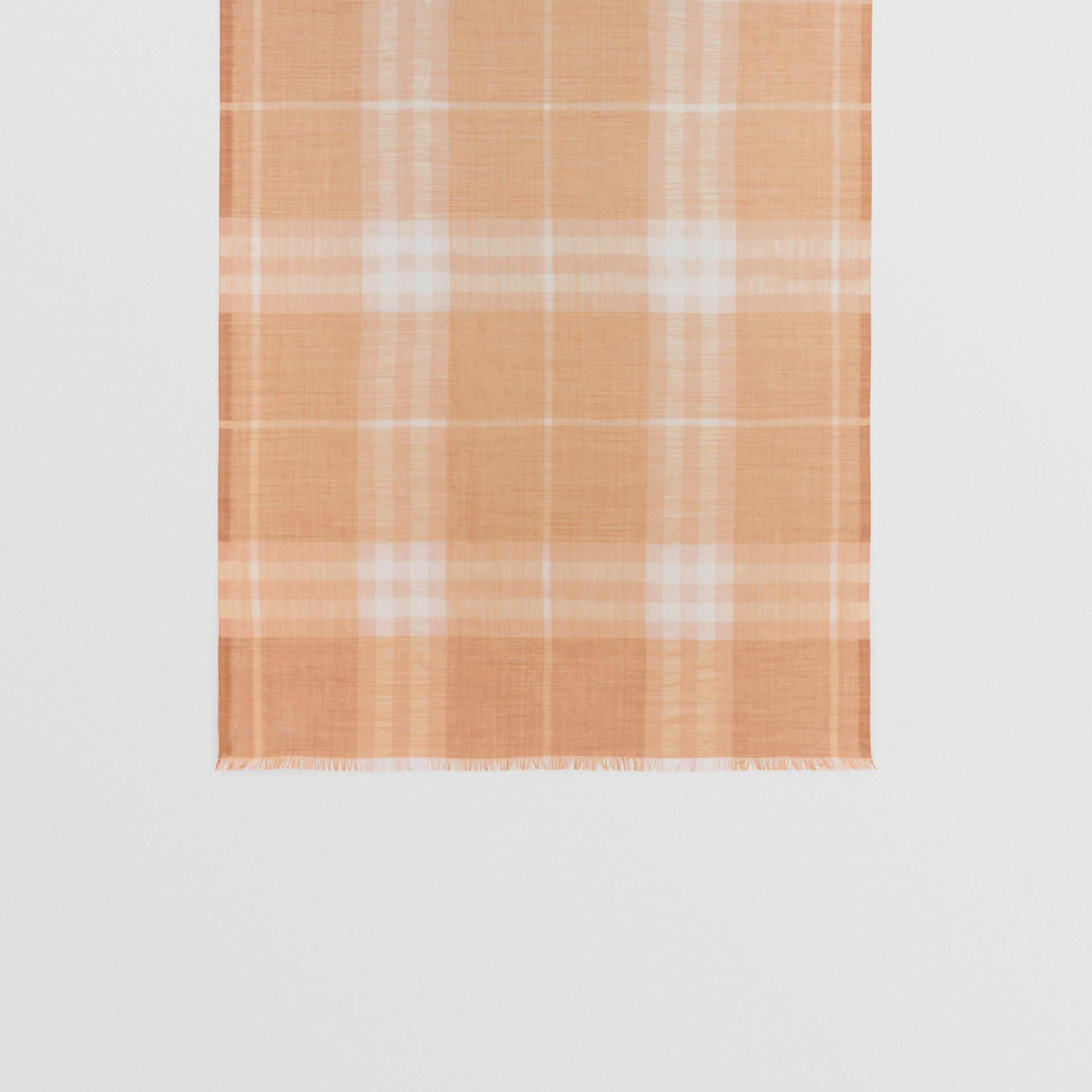 Lightweight Check Wool and Silk Scarf in Fawn | Burberry Australia - gallery image 4