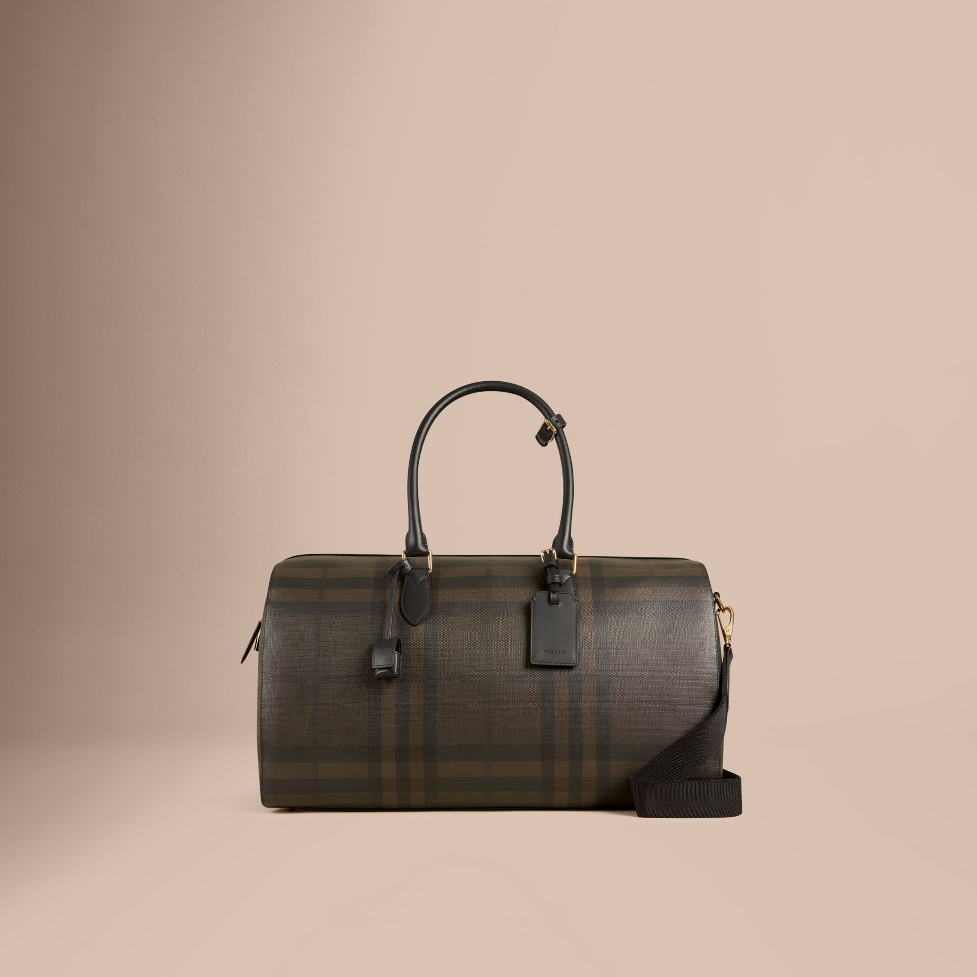 Chocolate/black Leather Trim London Check Holdall Chocolate/black - gallery image 7