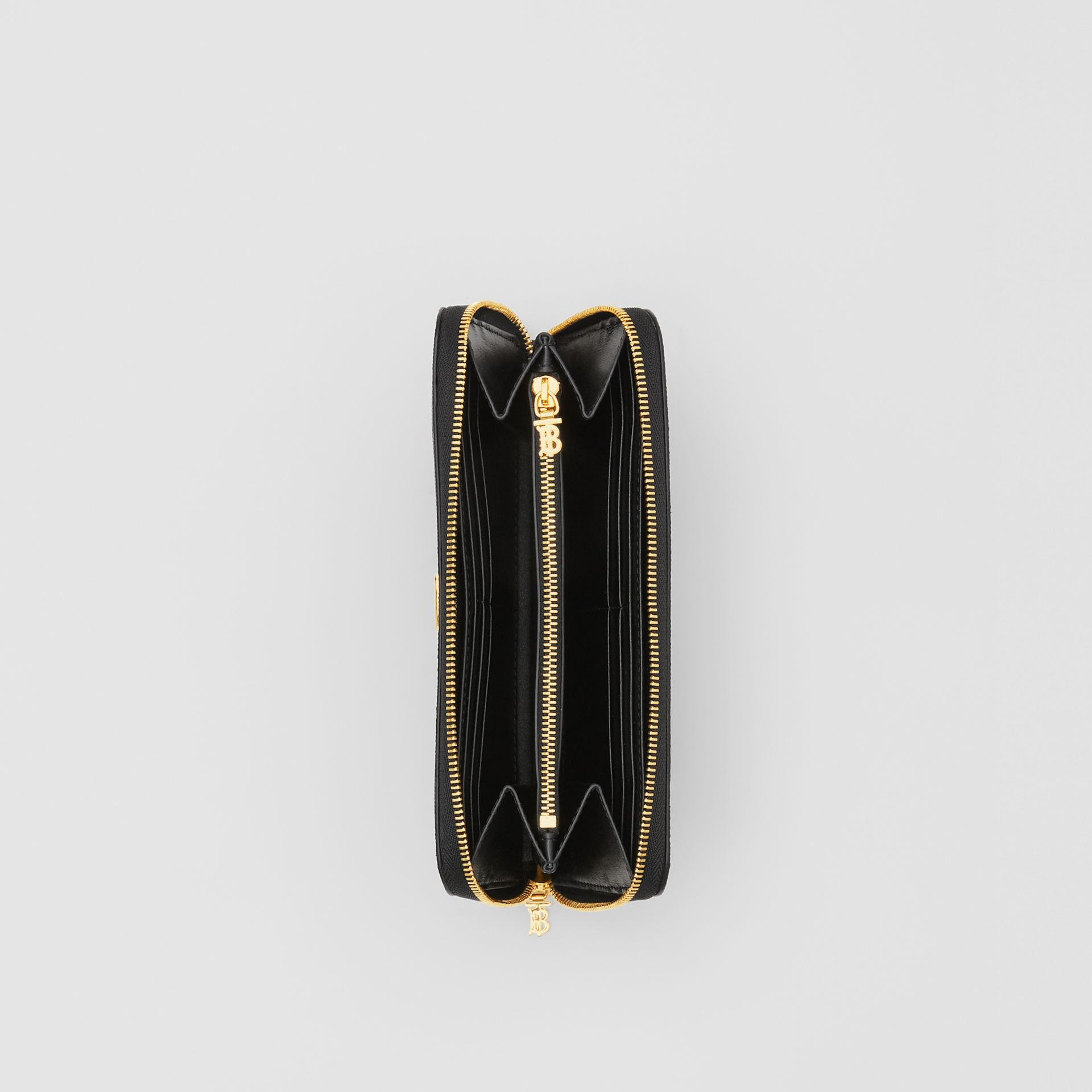 Portefeuille zippé en cuir grainé Monogram (Noir) - Femme | Burberry Canada - photo de la galerie 3