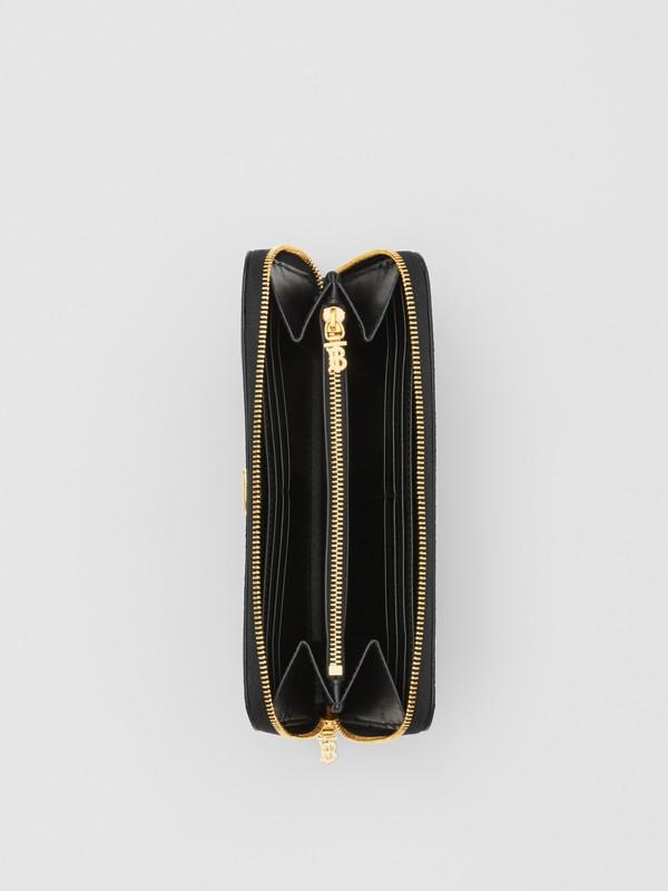 Portefeuille zippé en cuir grainé Monogram (Noir) - Femme | Burberry Canada - cell image 3
