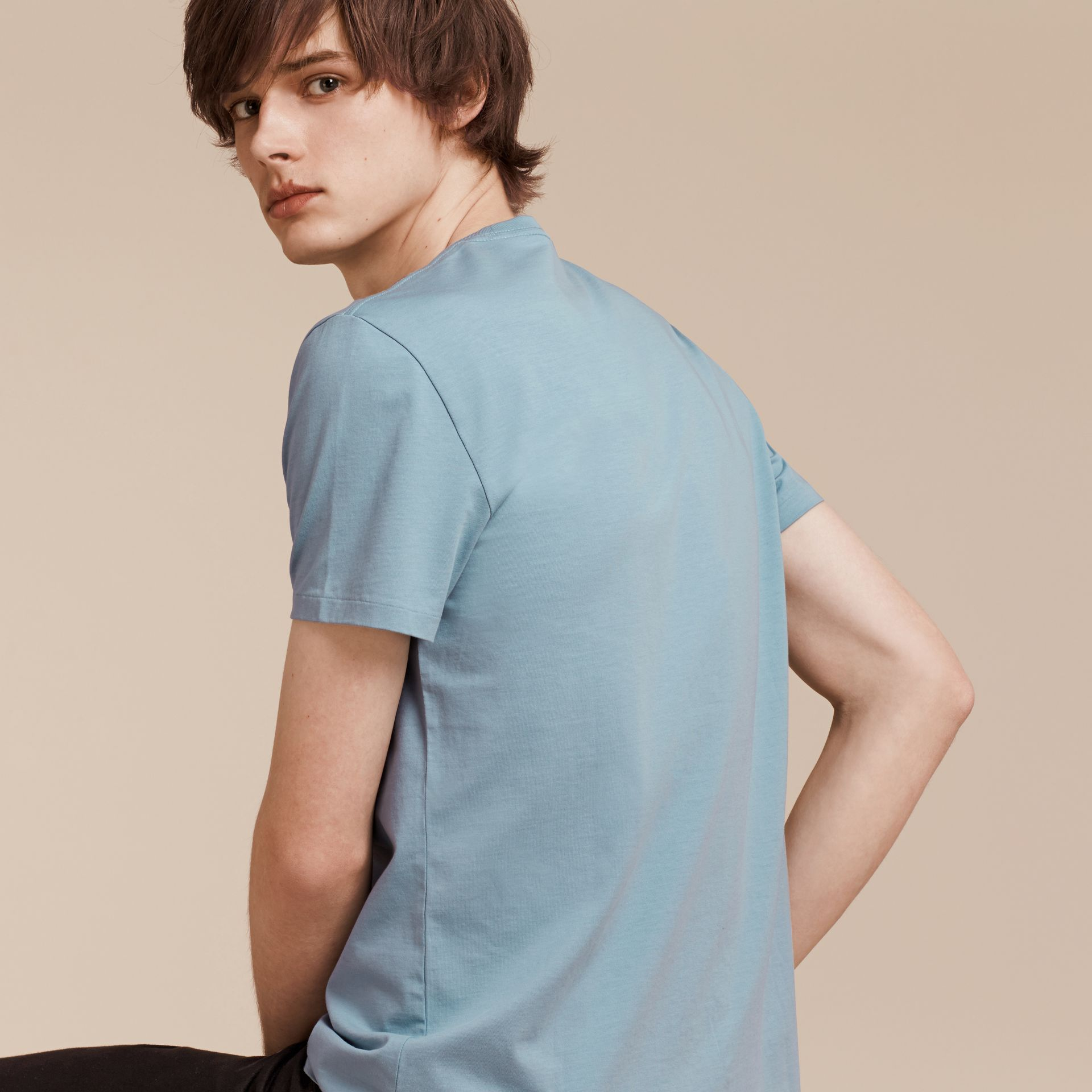 Pale blue Liquid-soft Cotton T-Shirt Pale Blue - gallery image 3