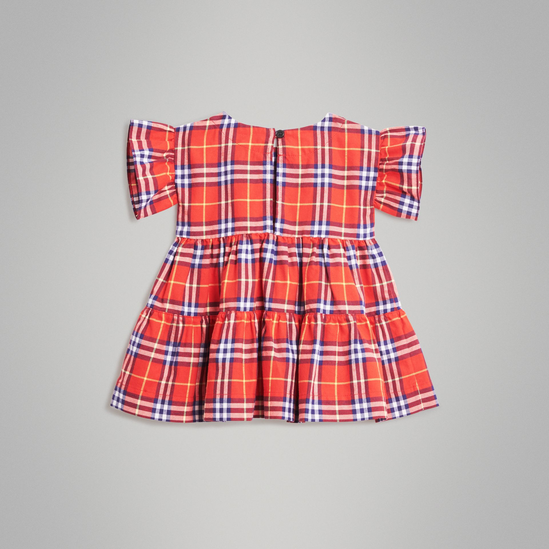 Ruffle Detail Cotton Check Dress in Orange Red - Children | Burberry Australia - gallery image 3