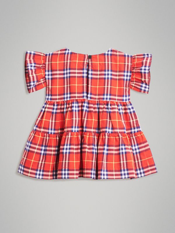 Ruffle Detail Cotton Check Dress in Orange Red - Children | Burberry - cell image 3