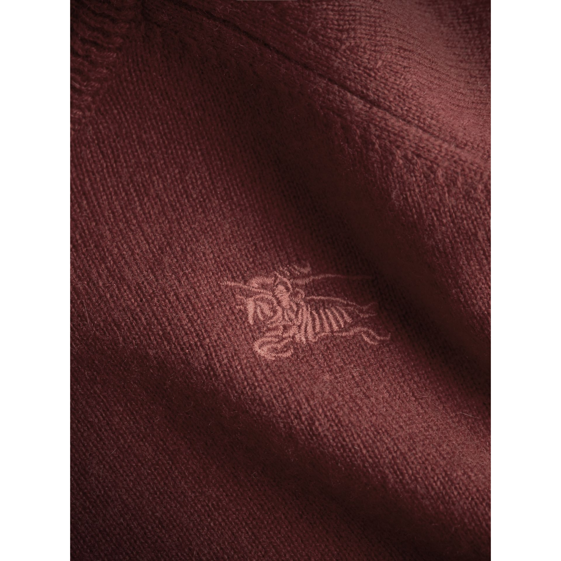 Check Cuff Cashmere Sweater in Mahogany Red | Burberry - gallery image 1