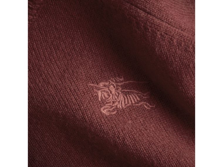 Check Cuff Cashmere Sweater in Mahogany Red | Burberry - cell image 1