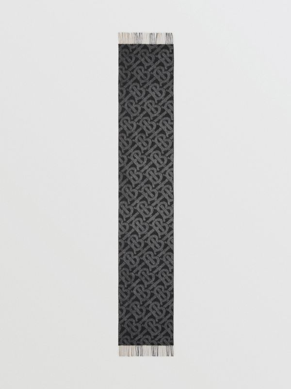 Reversible Check and Monogram Cashmere Scarf in Black / White | Burberry - cell image 3