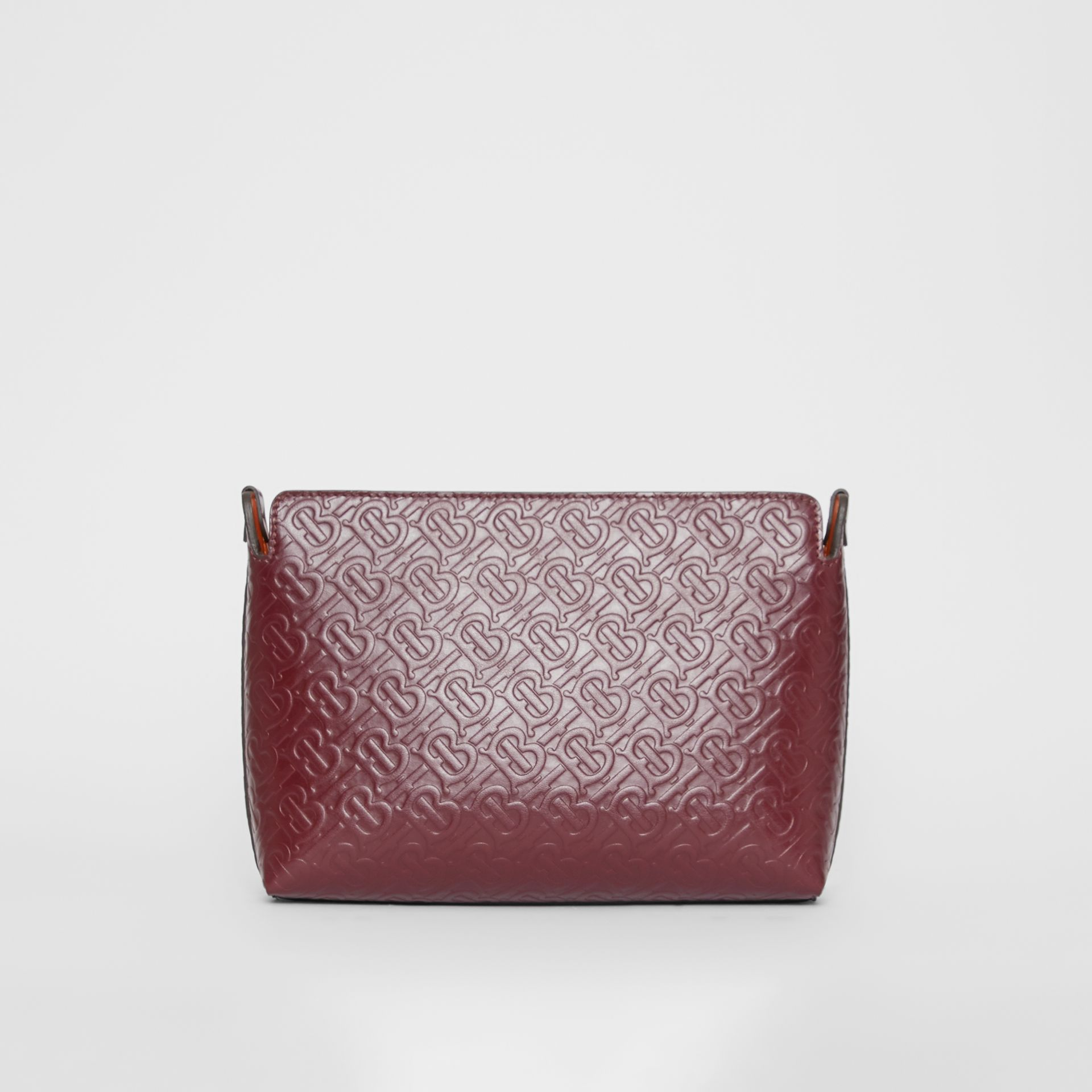 Medium Monogram Leather Clutch in Oxblood - Women | Burberry Australia - gallery image 0