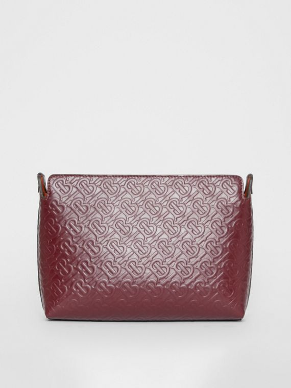 Medium Monogram Leather Clutch in Oxblood