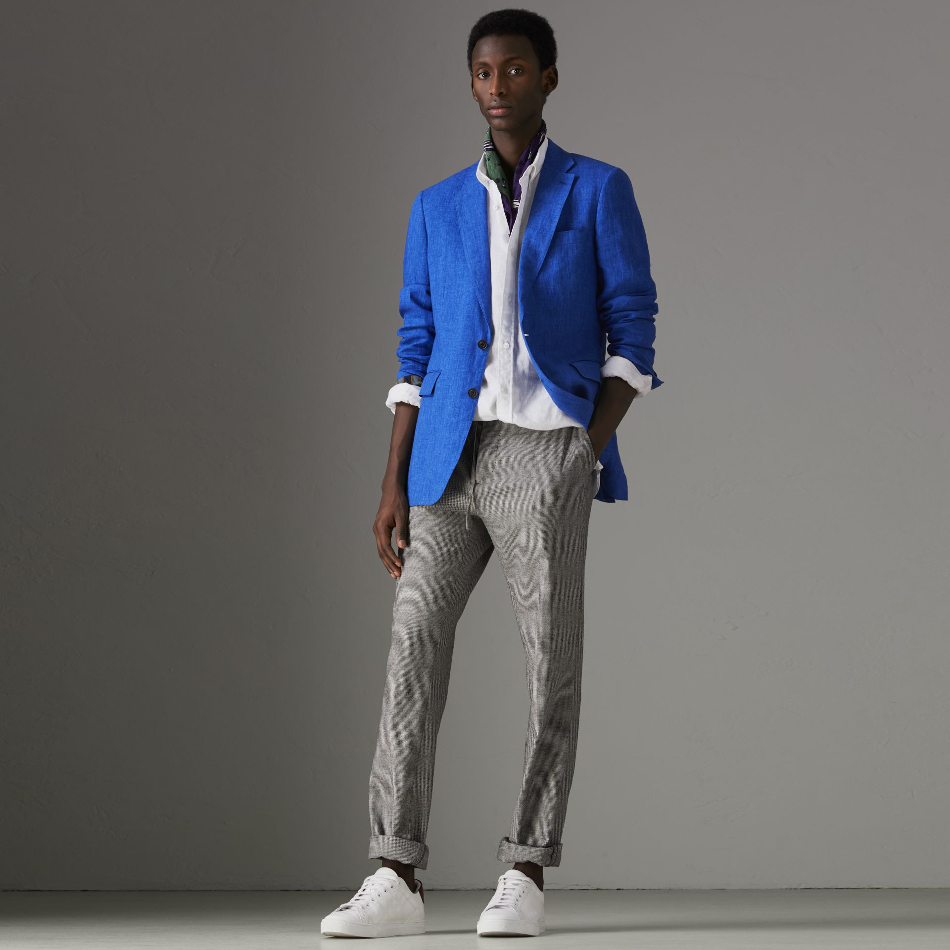 Soho Fit Linen Tailored Jacket in Violet Blue - Men | Burberry United Kingdom - gallery image 0