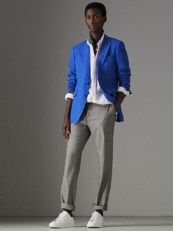 Soho Fit Linen Tailored Jacket in Violet Blue