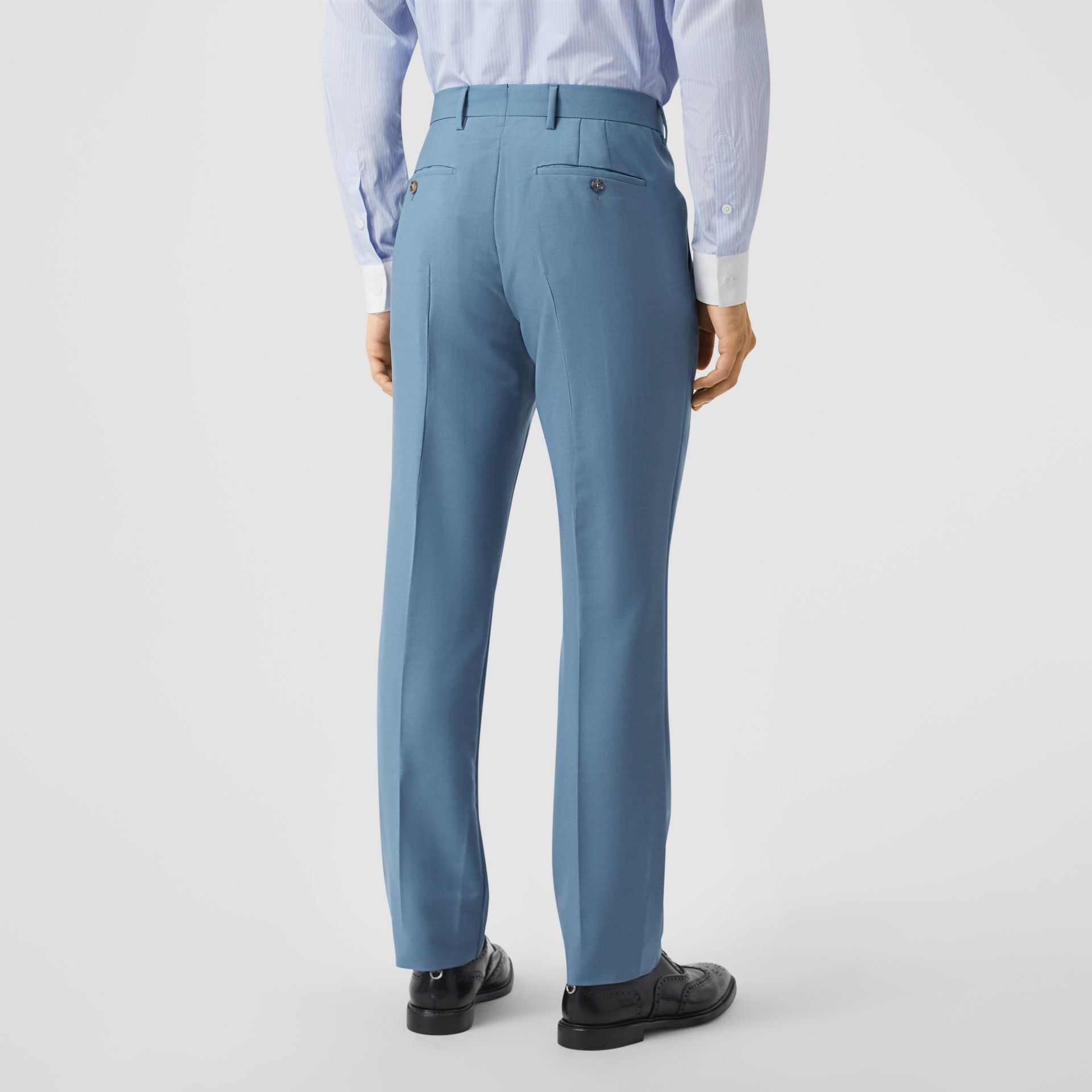 Classic Fit Mohair Wool Tailored Trousers in Steel Blue - Men | Burberry - gallery image 2