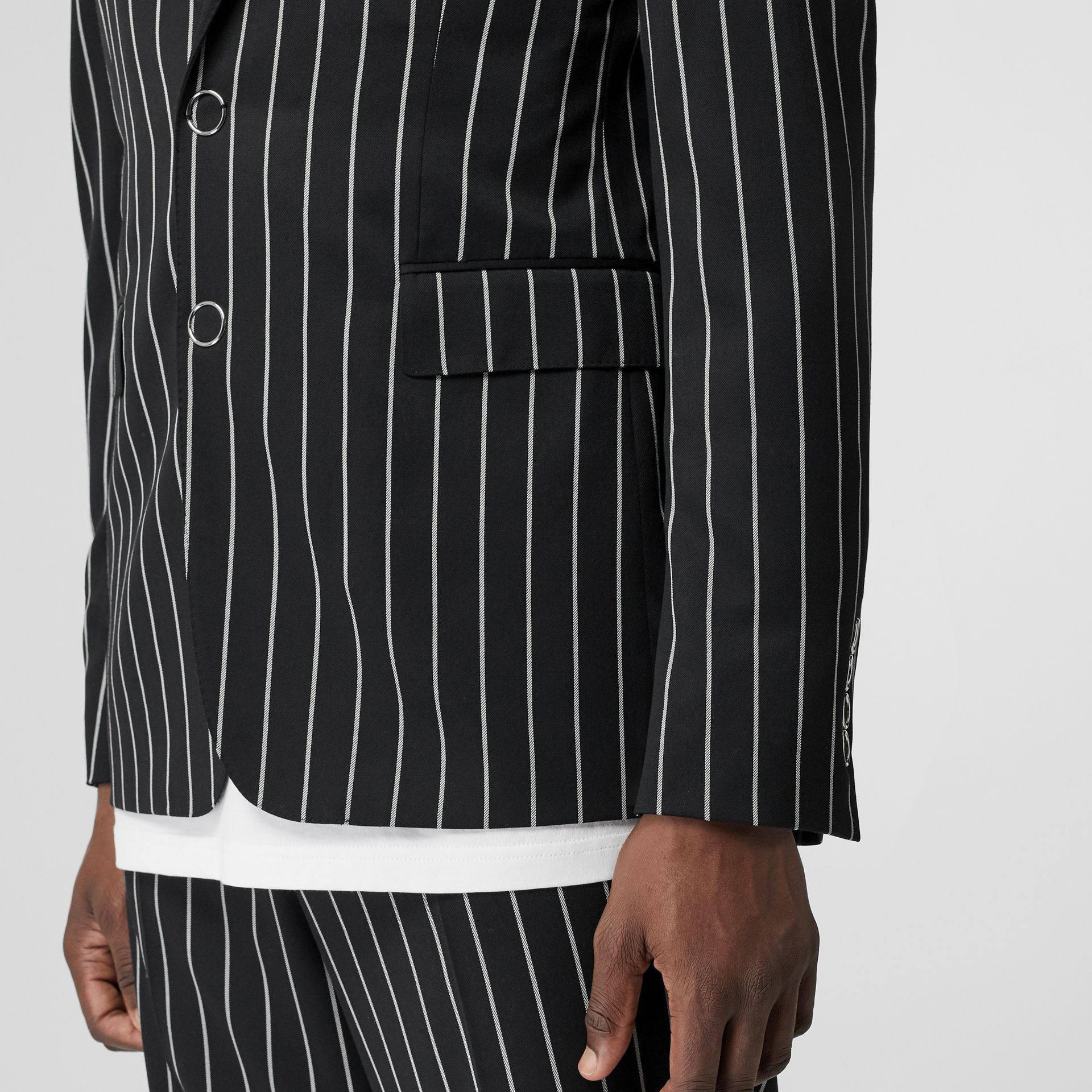Slim Fit Press-stud Pinstriped Wool Tailored Jacket in Black - Men | Burberry - gallery image 4