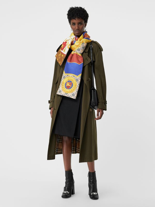 Archive Scarf Print Padded Silk Scarf in Antique Yellow | Burberry Australia - cell image 2