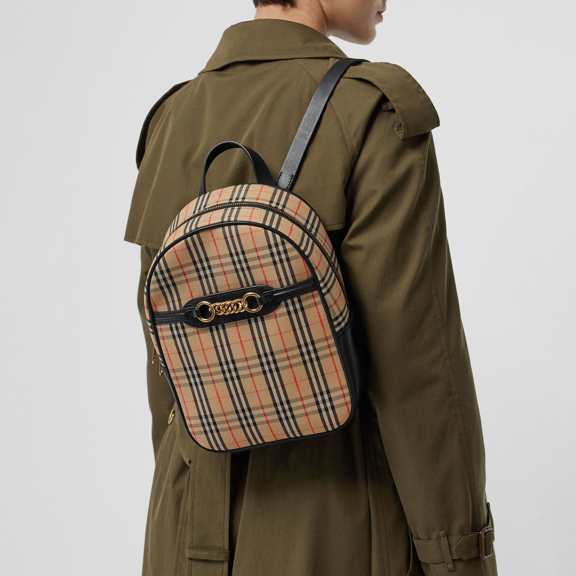 The 1983 Check Link Backpack in Black - Women | Burberry - gallery image 5