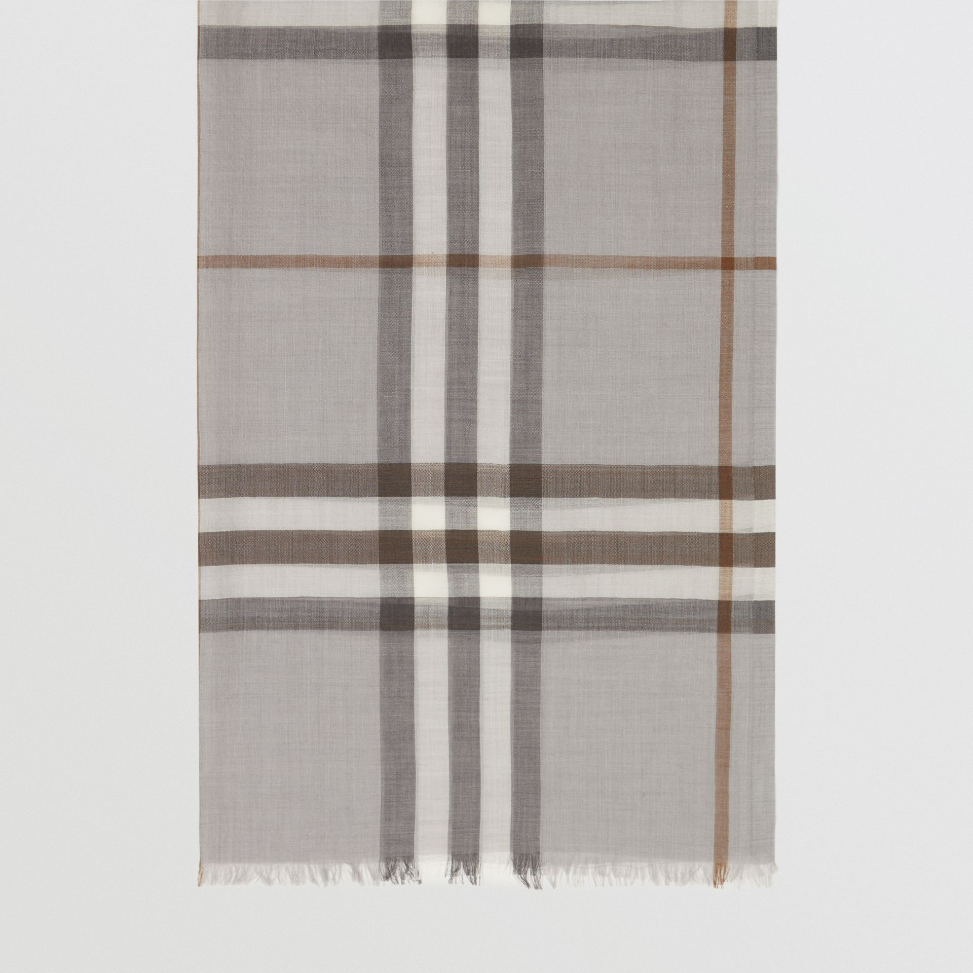 Lightweight Check Wool Silk Scarf in Grey | Burberry - gallery image 4