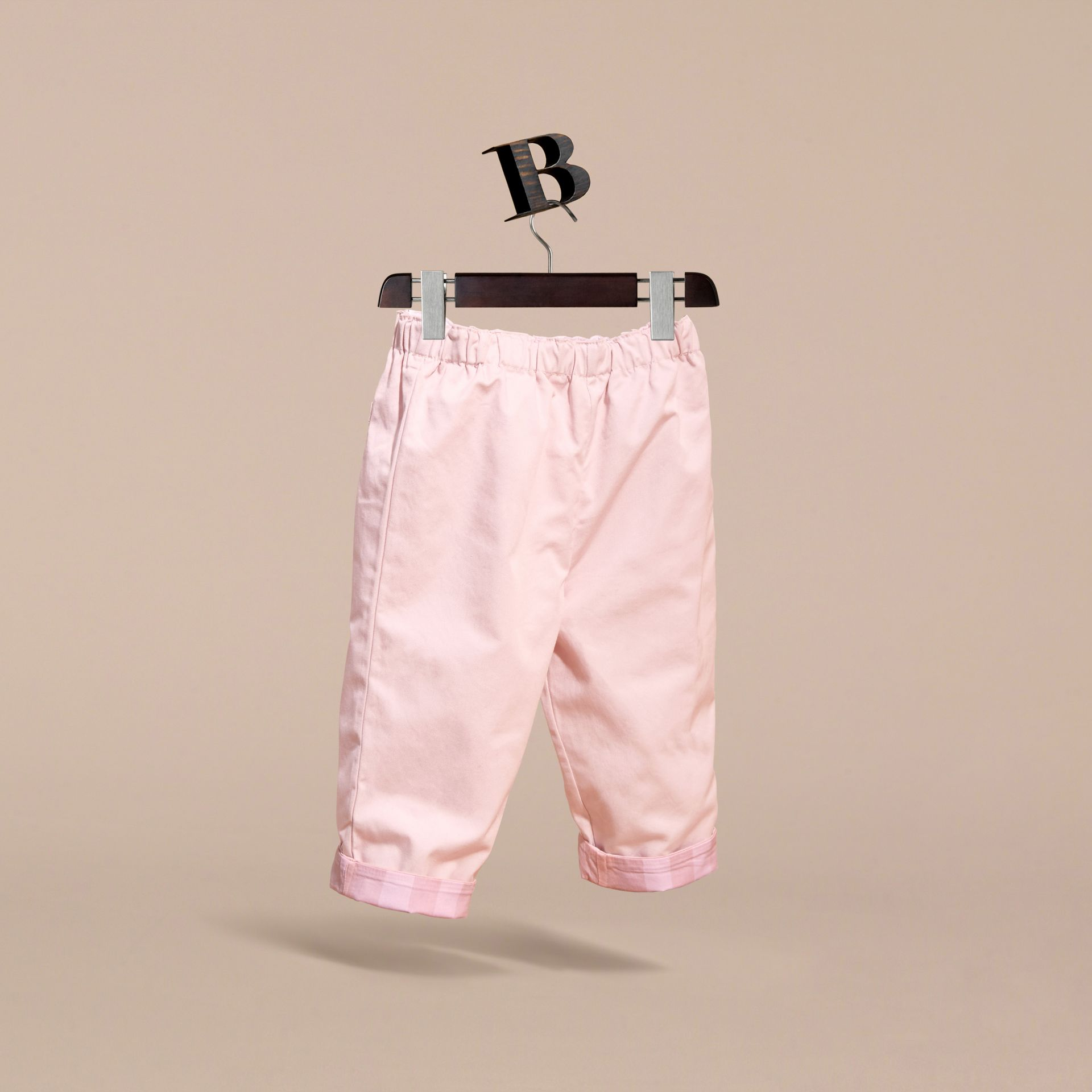 Check Turn-Up Cotton Trousers in Ice Pink | Burberry - gallery image 3