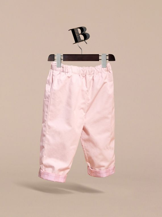 Check Turn-Up Cotton Trousers in Ice Pink | Burberry - cell image 2